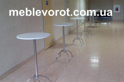 Аренда (прокат) барный стол с белой столешницей  (хром. ножка) по 150 грн/сутки