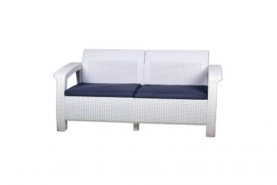 Аренда (прокат) 2-х местного белого дивана из ротанга по 400 грн/сутки