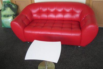 "Аренда (прокат) красного кожаного дивана ""МАГНАТ"" по 899 грн/сутки"