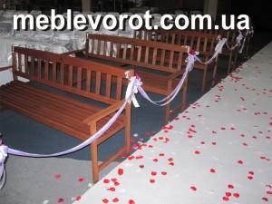 Аренда свадебных деревянных лавочек_прокат садовой и свадебной мебели в Киеве
