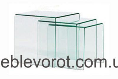 """Аренда (прокат) набора стеклянных прозрачных """"Вулкано"""" столиков за комплект 600 грн/сутки"""