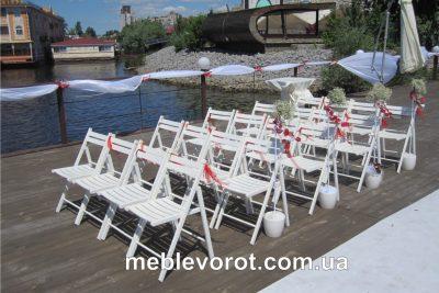 Аренда (прокат) стульев белых деревянных складных для свадьбы (церемонии бракосочетания) по 29 грн/сутки