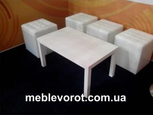 Аренда белого прямоугольного столика_прокат кофейного стола_киев