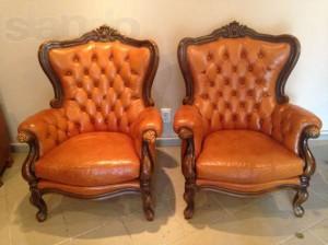 Аренда антикварного кожаного кресла_прокат антикварной мебели_киев