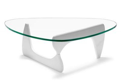 Аренда (прокат)  дизайнерского кофейного стеклянного столика Ногучи белого цвета по 400 грн/сутки