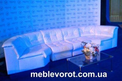 Аренда (прокат) комплекта снежно-белых диванов Клуб по 349 грн/сутки за секцию