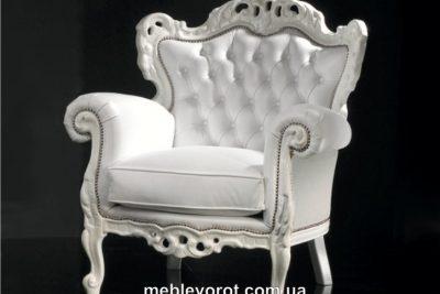 "Аренда (прокат) антикварного кресла ""Barocco White LUX"" белого цвета в стиле барокко по 1200 грн/сутки"