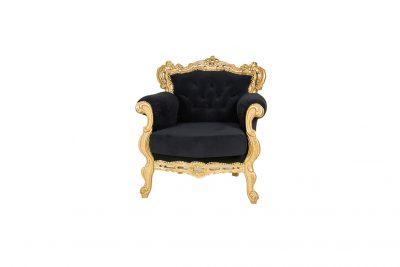 """Аренда (прокат)  черного бархатного кресла в золотом каркасе """"BAROCCO GOLD-BLACK"""" по 1200 грн/сутки"""