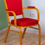 Прокат стульев банкетных красных Бурже с подлокотниками по Киеву