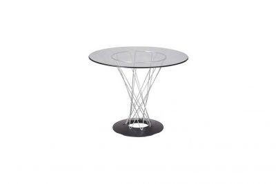 Аренда (прокат) стеклянного дизайнерского стола Циклон на хромированной каркасе по 999 грн/сутки