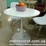 Аренда столов белых Тюльпан диаметром 60 см в Киеве