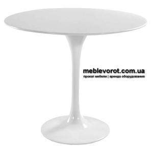 Аренда стола Тюльпан белого цвета диаметром 80 см Киев