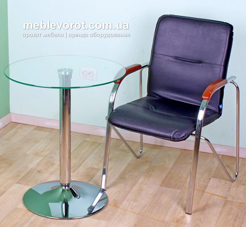 "Аренда (прокат) стол стеклянный круглый диаметр 60 см. ""Коло""  100 грн/сутки"