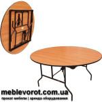 Аренда столов круглых 180 см. диаметром Стелс по Киеву
