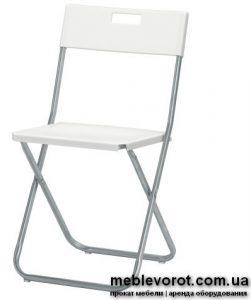 Аренда стульев складных железных белого цвета пластик