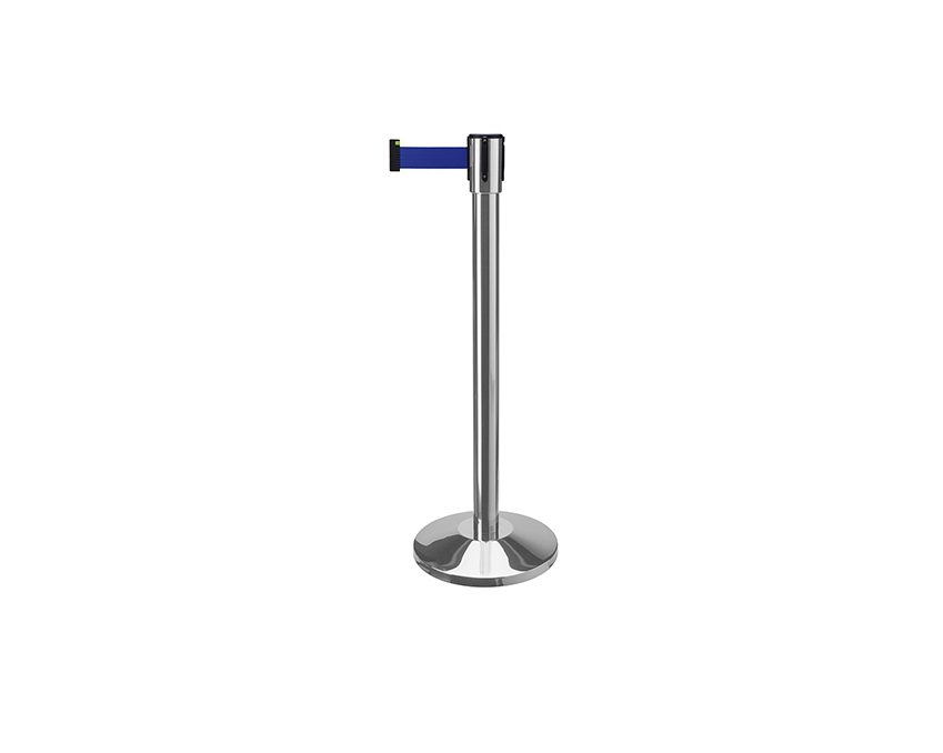 Аренда (прокат) столбиков хромированных оградительных с тенсатором лента синяя  2 м по 100 грн/сутки/шт.