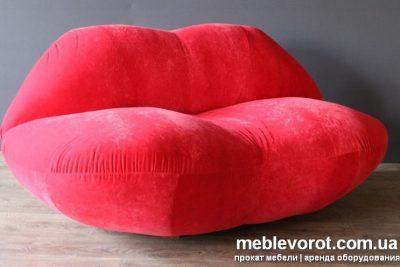 """Аренда (прокат) диван """"Губы"""" тканевый красного цвета 1500 грн/сутки"""